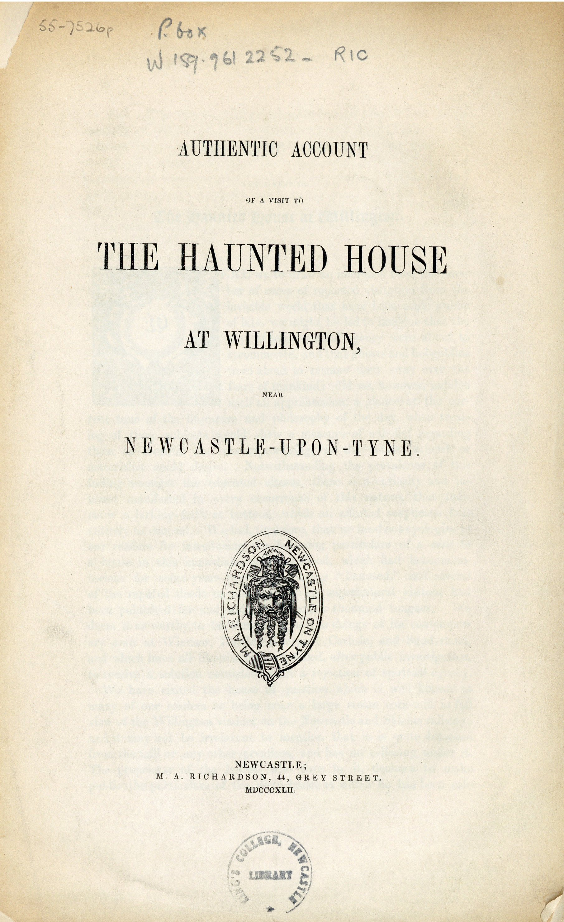 Title page from the 'Authentic account of a visit to the haunted house at Willington near Newcastle-upon-Tyne' (W159.9612252 RIC), published 1842