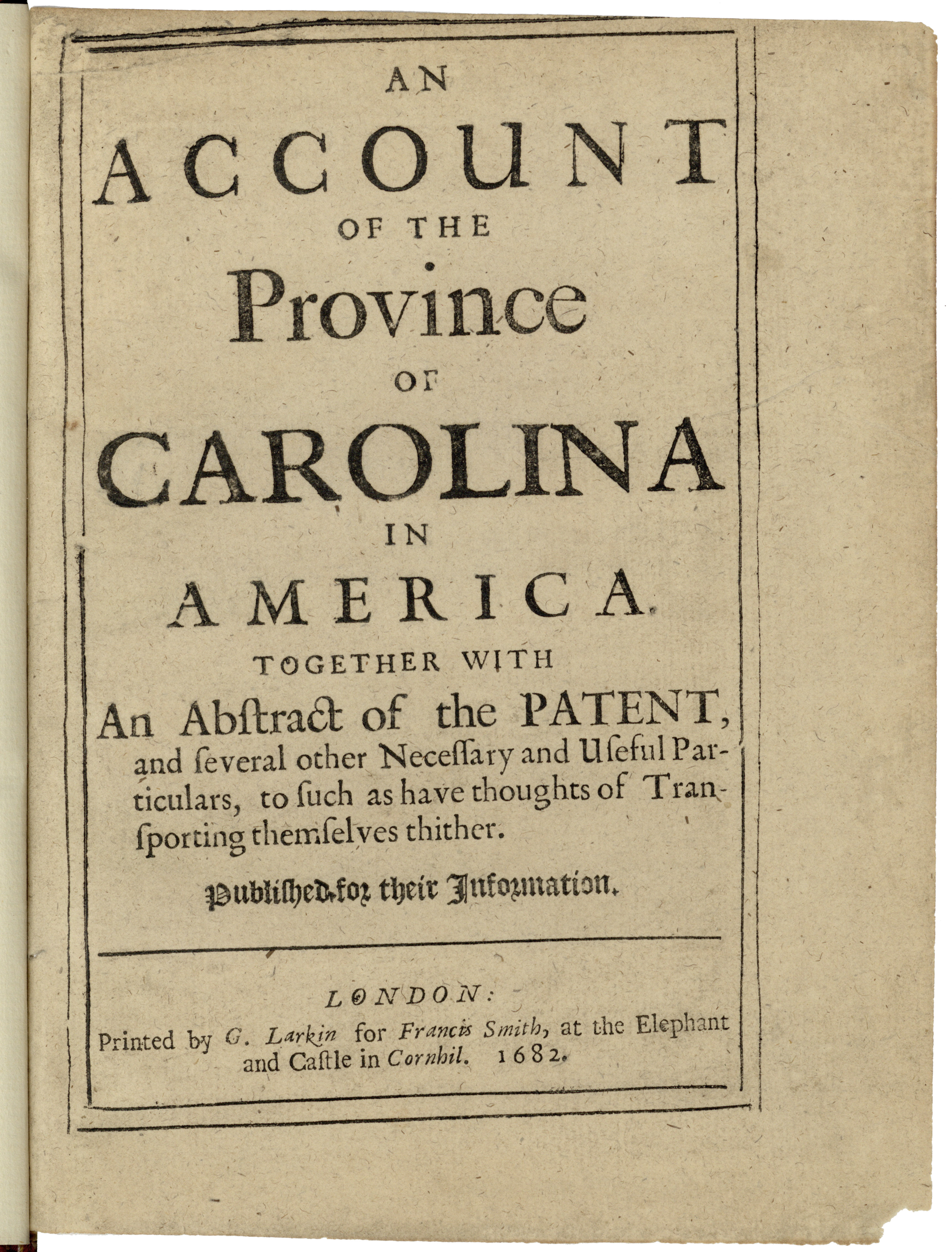 The title page from Wilson's An Account of the Province of Carolina (ROB139)