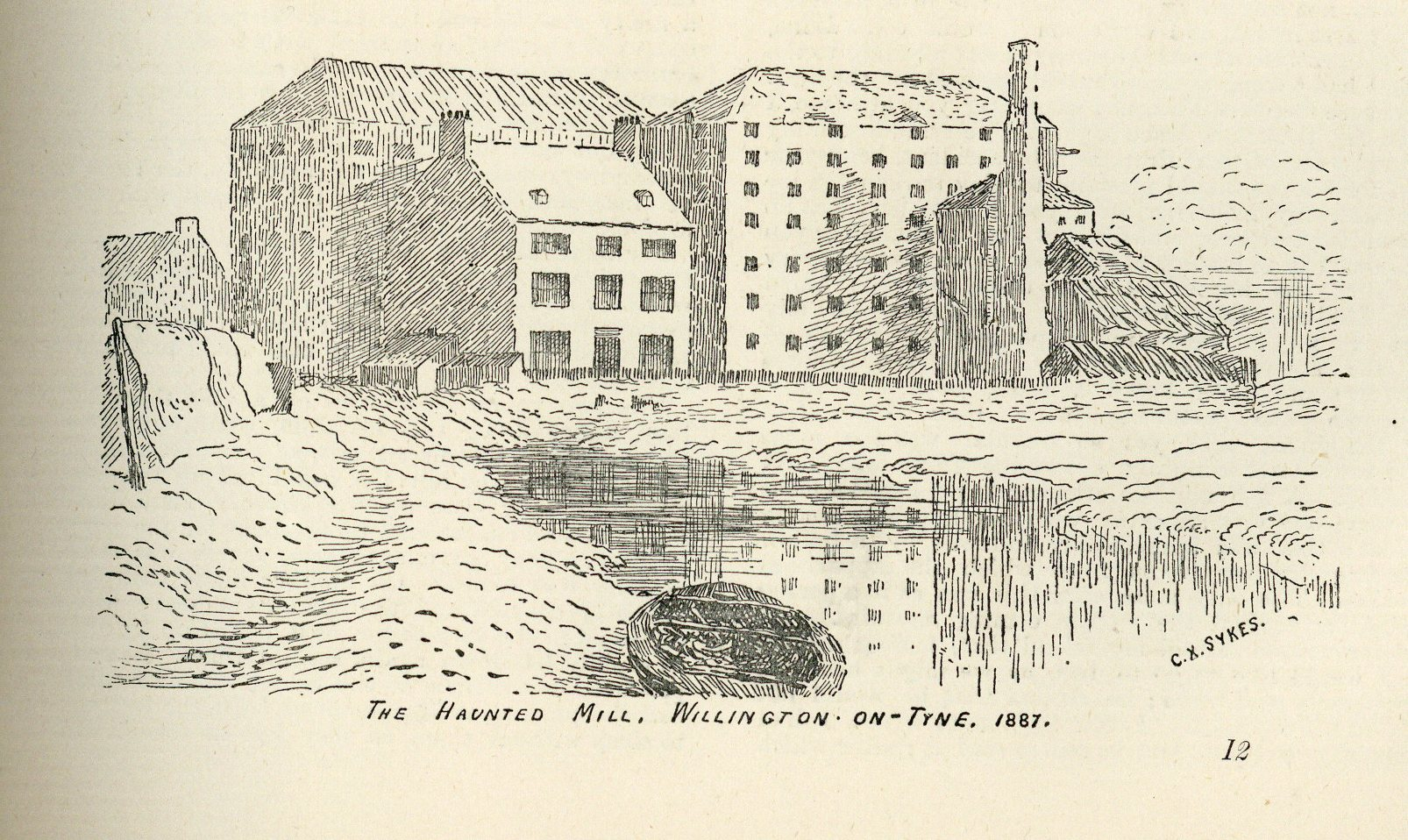 Image of The Haunted Mill in Willington in 1887, taken from 'The Monthly Chronicle of North-Country Lore and Legend, 1887' (Edwin Clarke Local Collection 2066)