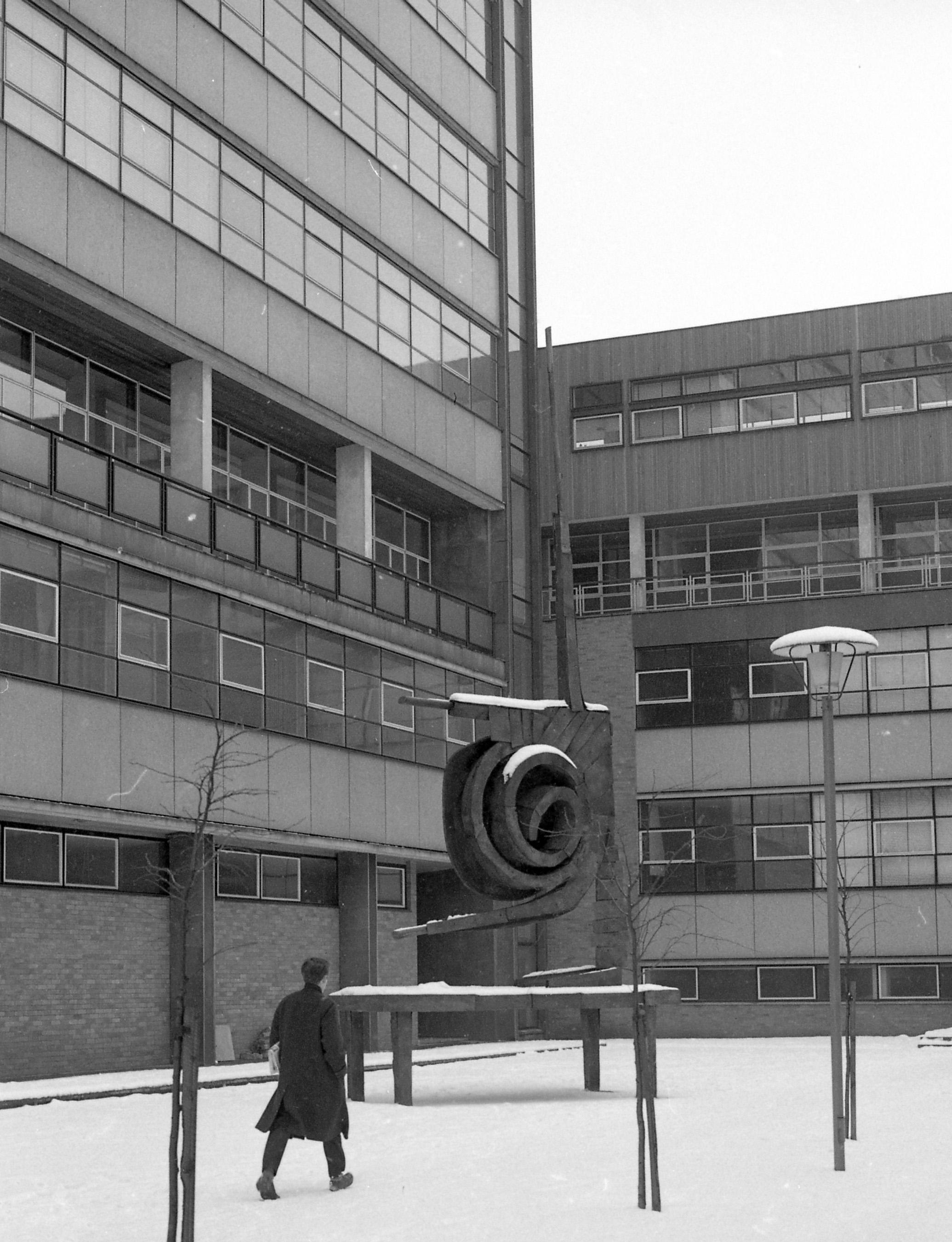 Photograph of Herschel Building and Spiral Nebula sculpture
