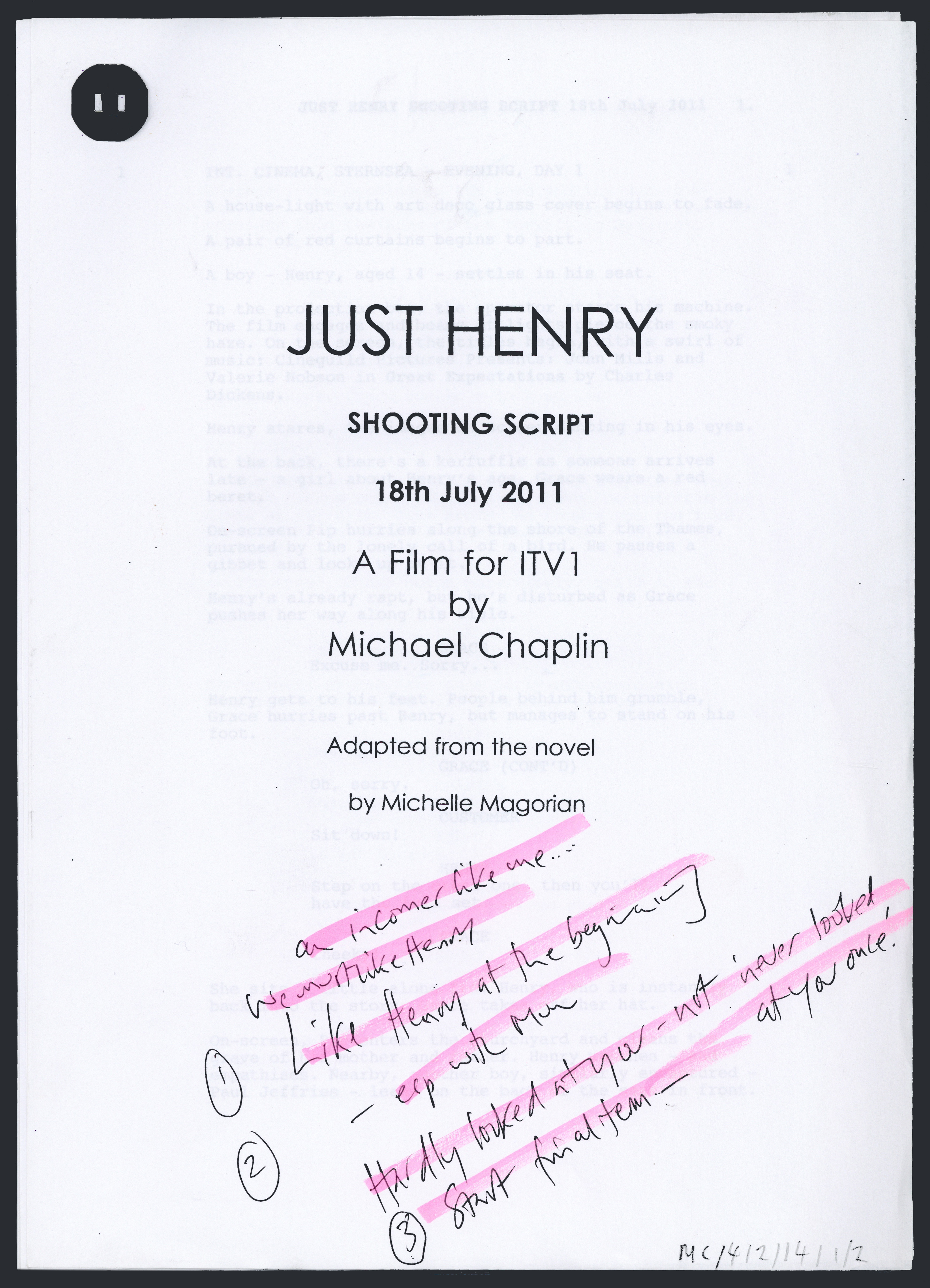 Front page of a shooting script for ITV's 2011 Christmas film for 'Just Henry'