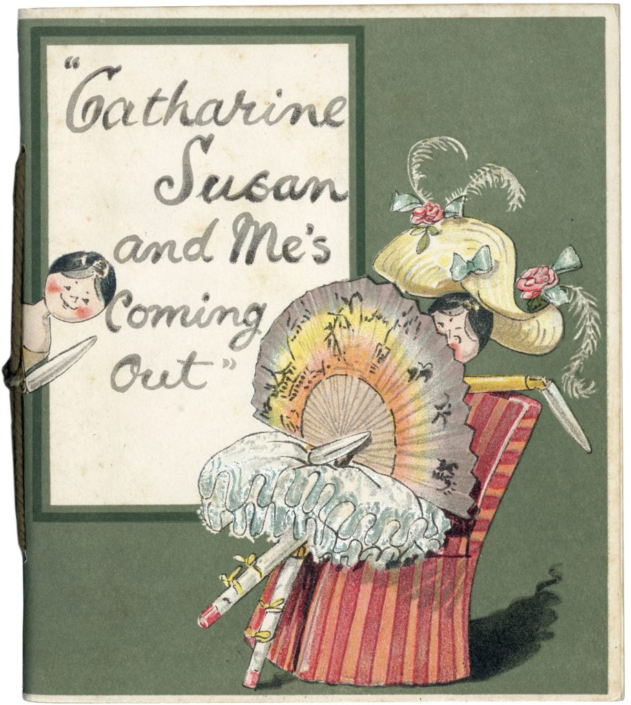 Front cover from 'Catherine Susan and Me's Coming Out' by Kathleen Ainslie (Rare Books 823.912 AIN)