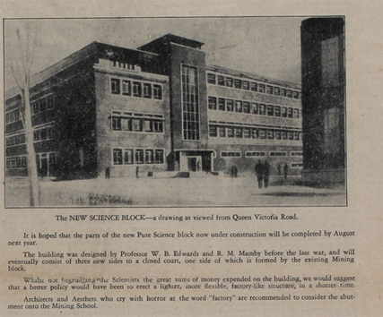 New Science Block drawing, 14th December 1948
