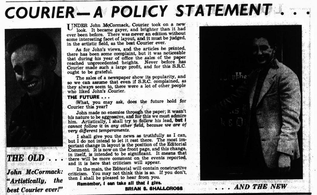 'Courier-A Policy Statement' reviewing John McCormack, 8th May 1958