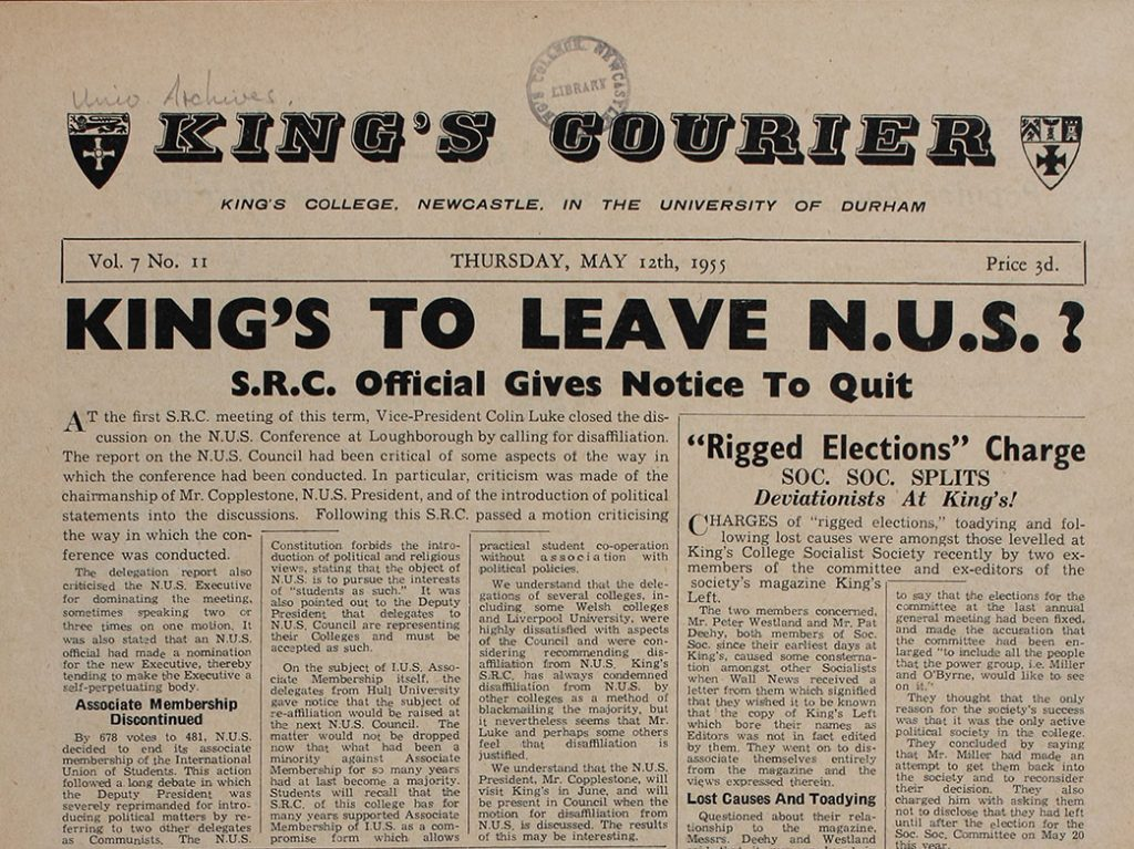 'Kings to Leave N.U.S', 12th May 1955