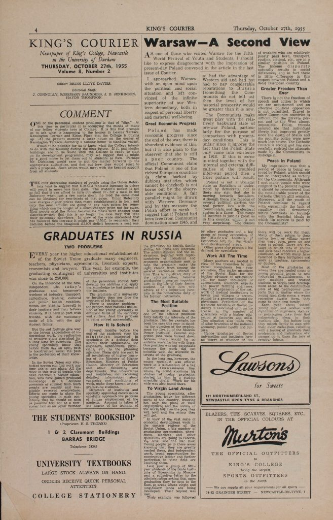 Brian Lloyd as Courier editor, 27th October 1955