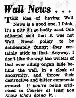 Wall News complaint about the gossip, 8th May 1958