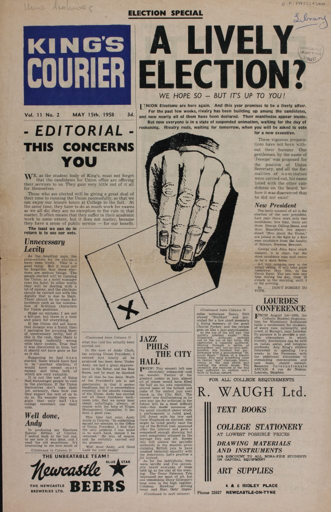 The King's Courier with the new colour masthead, 15th May 1958
