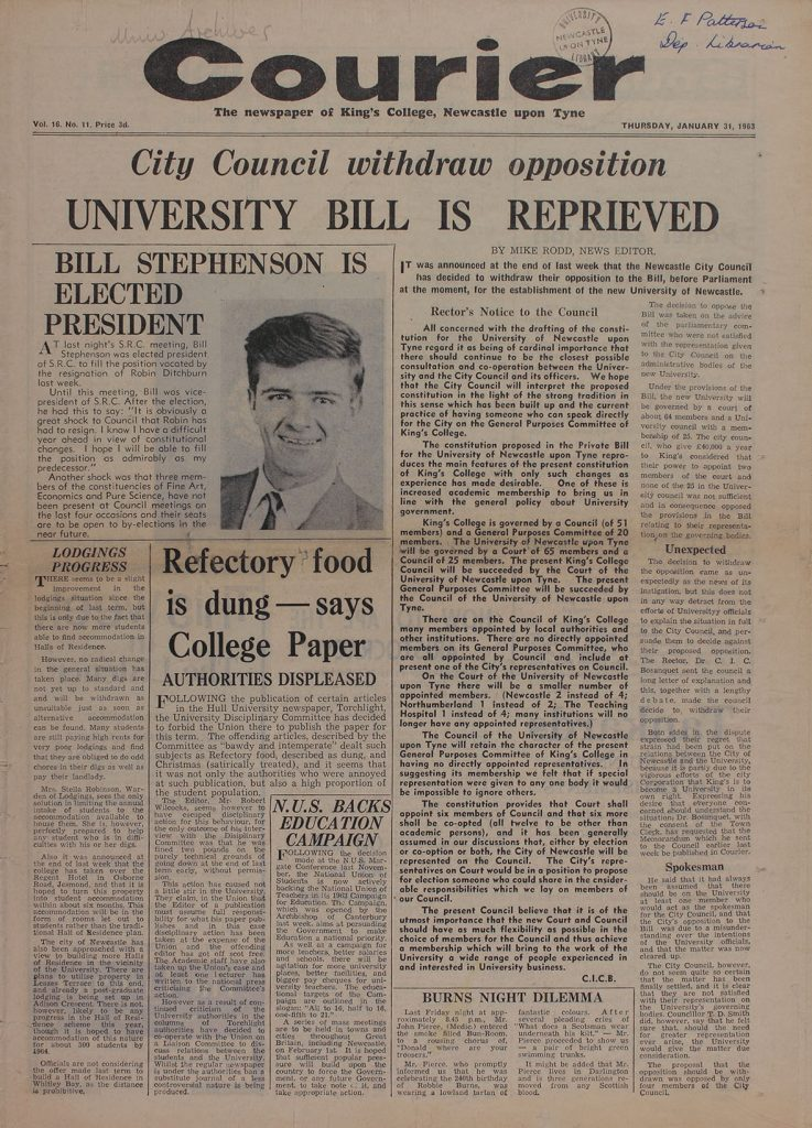 'University Bill is Reprieved', 31st January 1963