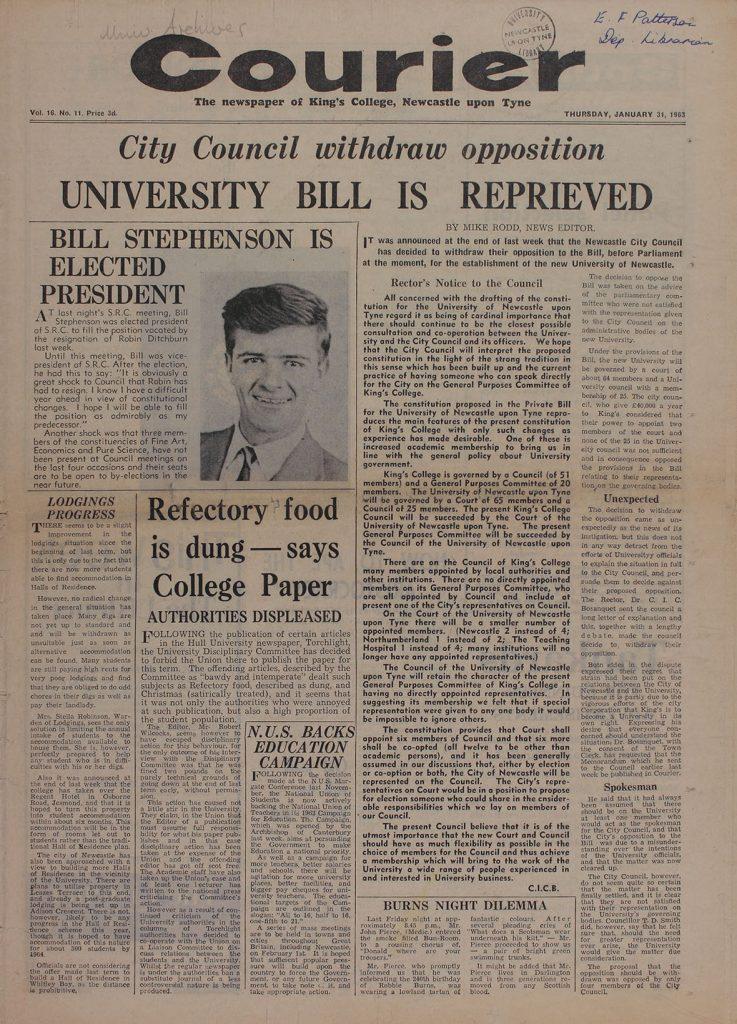 'University Bill is Reprieved', 31st January 1963