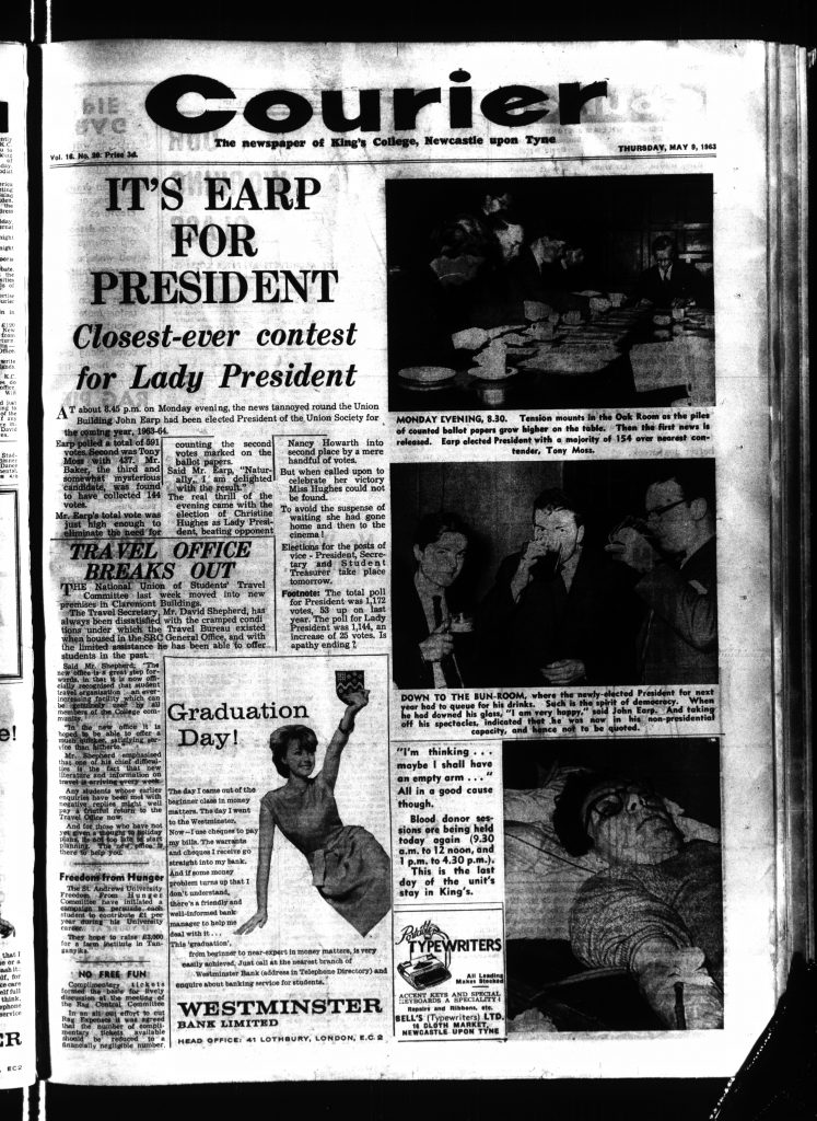 'It's Earp for President', example of the Courier with increased use of photography, 9th May 1963