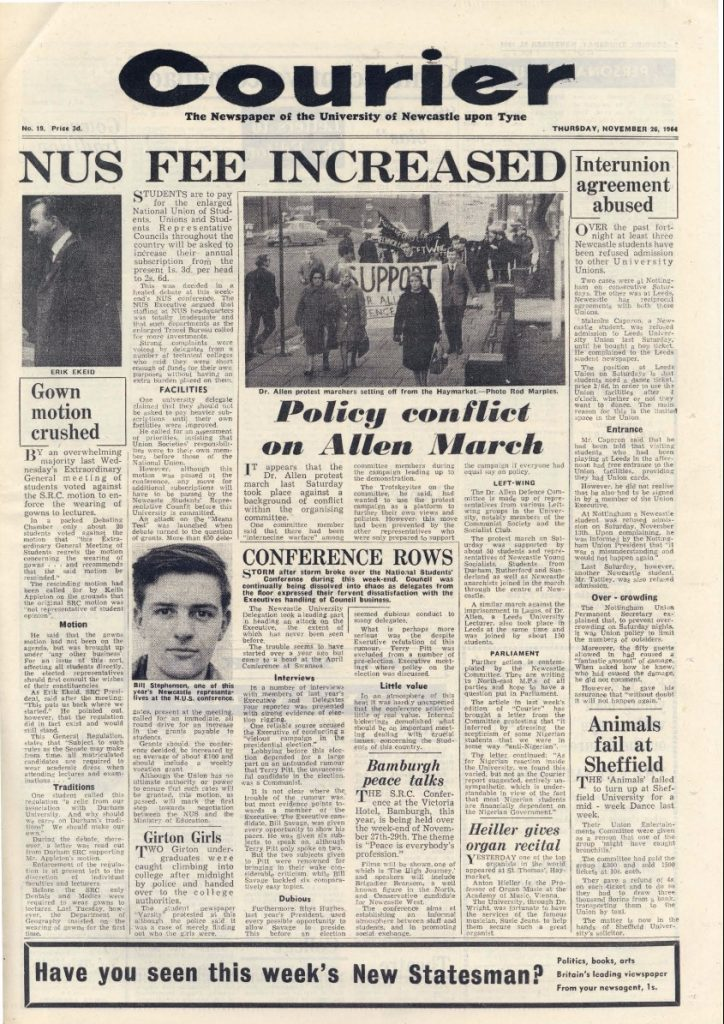 Criticism of Newcastle NUS delegates at the NUS conference, 26th November 1964