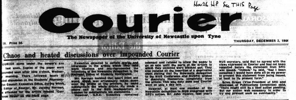 'Chaos and heated discussion over impounded Courier', 3rd December 1964