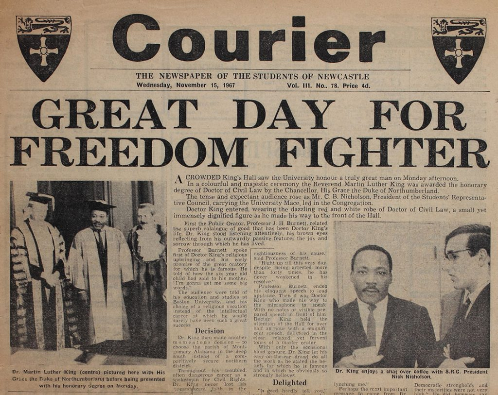 'Great Day for Freedom Fighter', Martin Luther King is given an honorary degree at Newcastle University, 15th November 1967