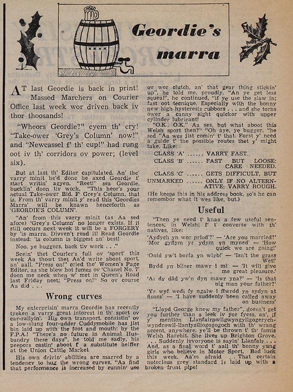 Geordie's Marra, 6th December 1967