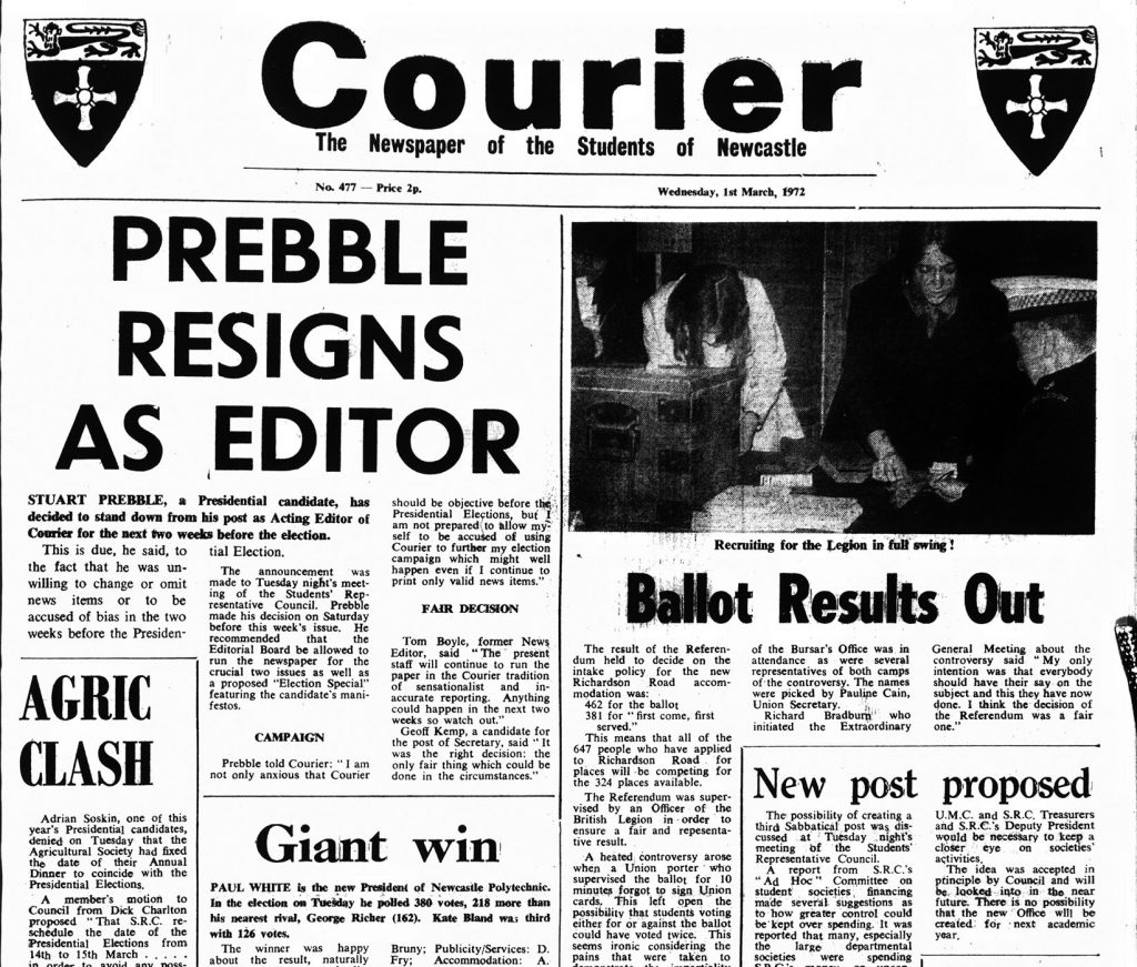 'Prebble Resigns as Editor', 1st March 1972