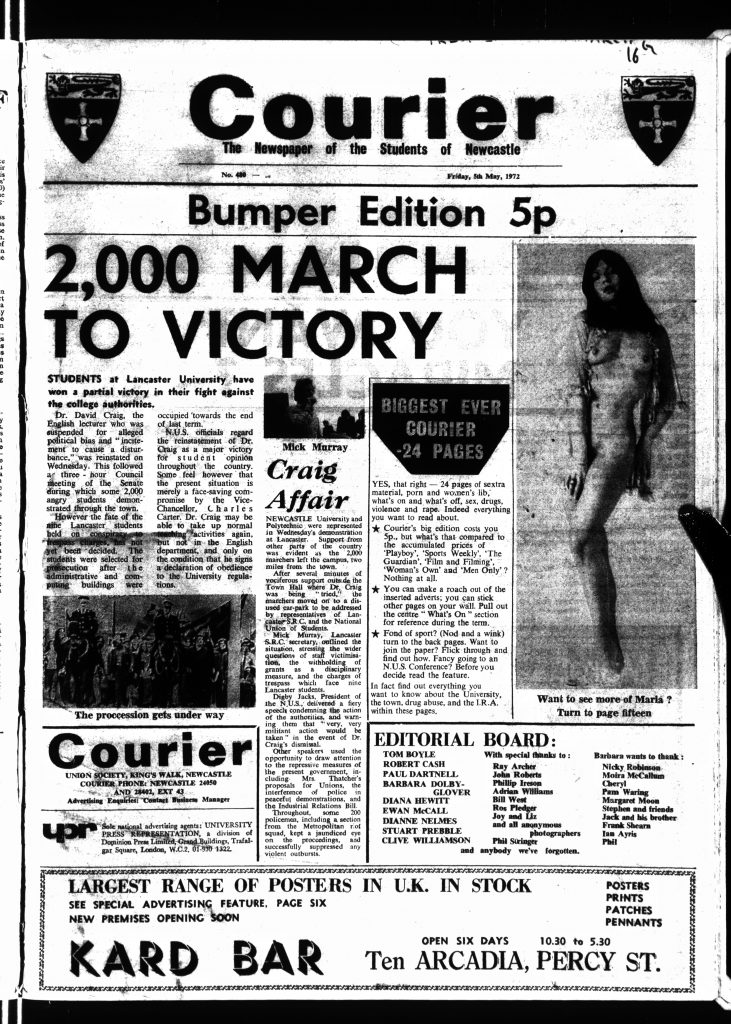 Bumper Edition of the Courier which featured the Couier porn page, 5th May 1972