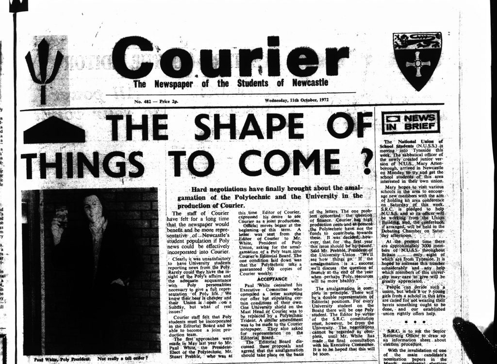 Courier with the Polytecnic trident and Polytecnic news, 1st November 1972