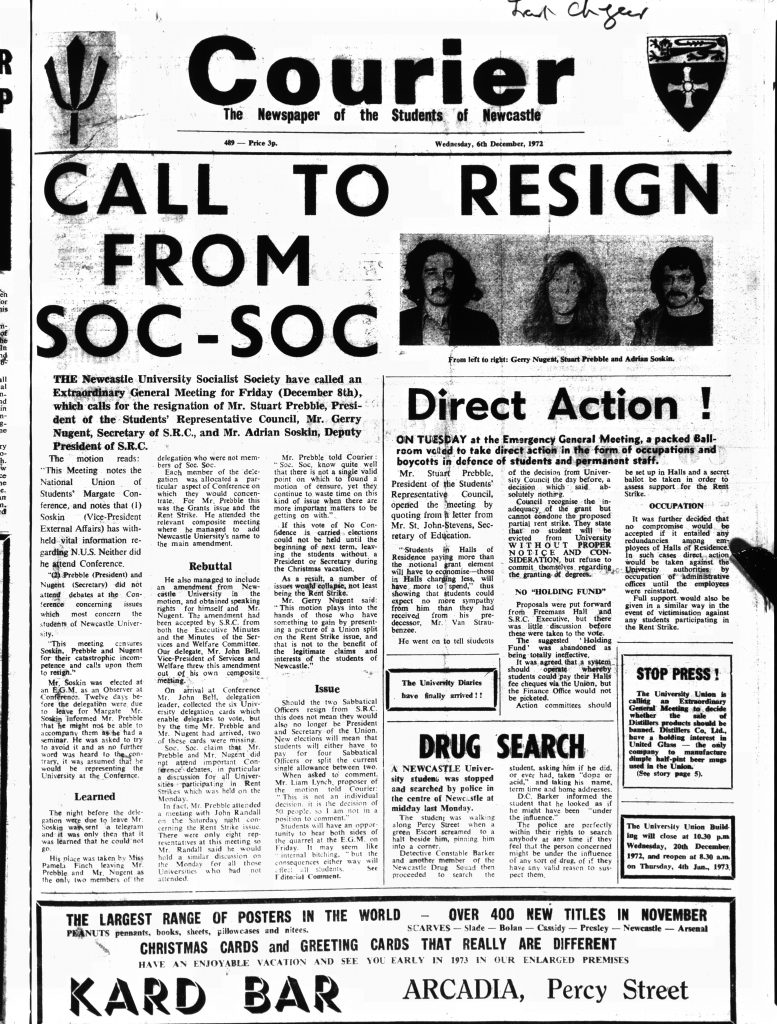 'Call to resign from Soc-Soc', 6th December 1972