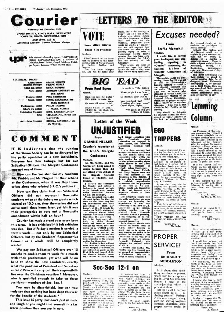Courier letter page, 6th December 1972