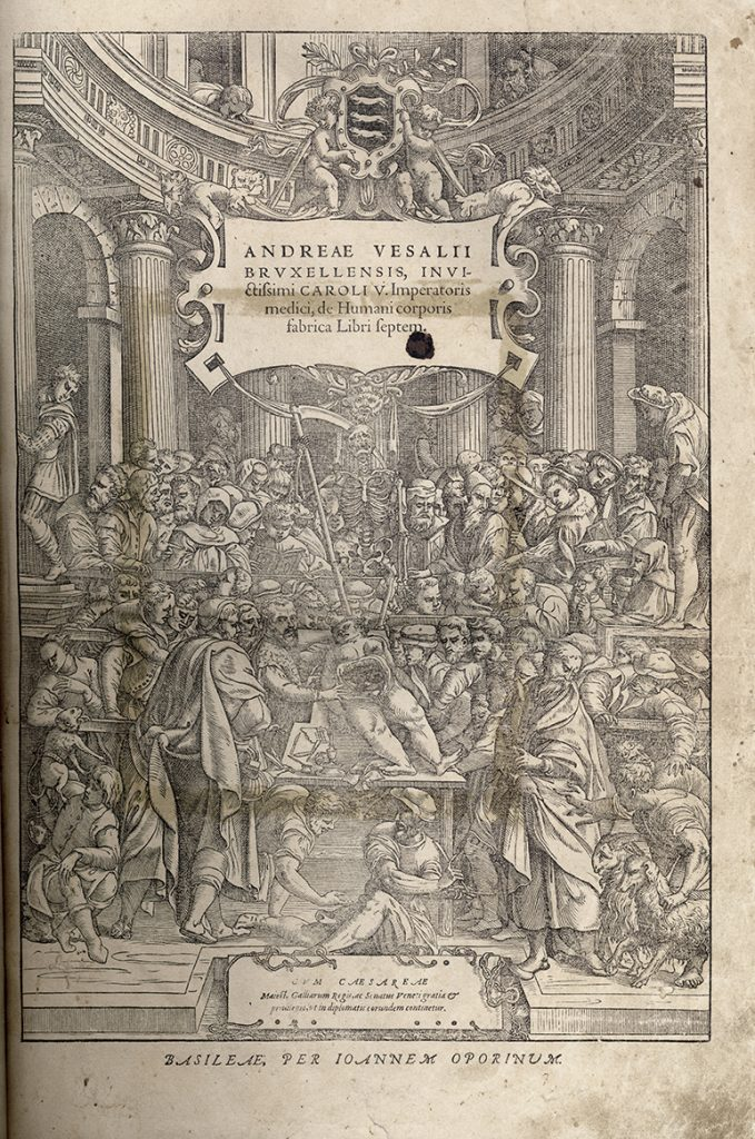 Frontispiece from 'De humani corporis fabric' (Fabric of the Human Body) by Andreas Vesalius (Pyb.N.v.10)