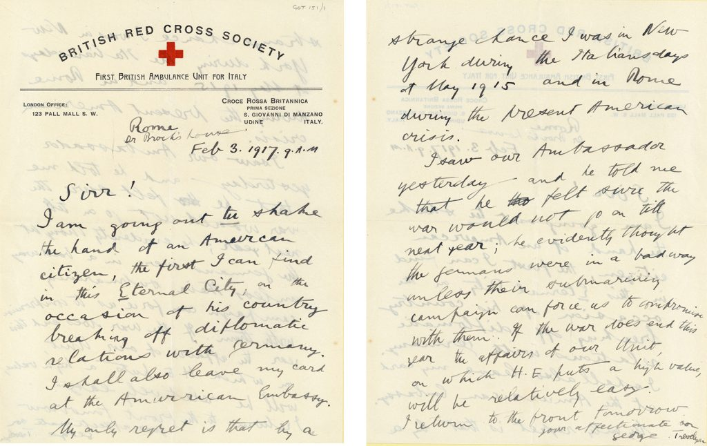 Above extracts are taken from a letter in the George Otto Trevelyan Archive GOT 151/1/1 – GOT 151/1/2