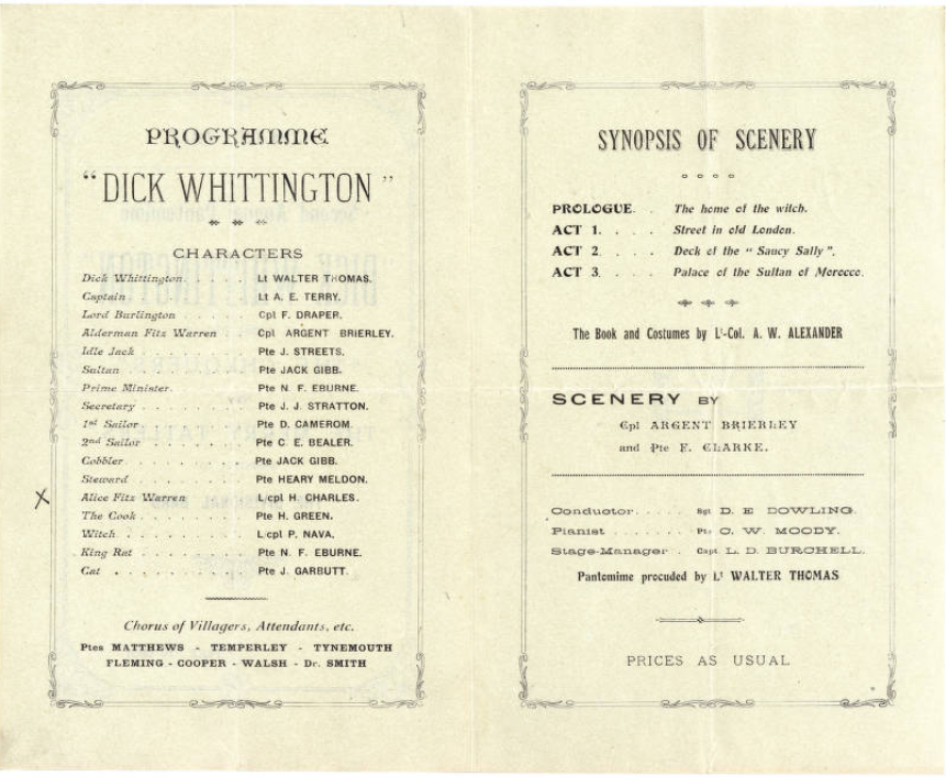 Inner pages of Consists of a programme for a Christmas pantomime, 'Dick Whittington', produced by army troops and directed by Lieutenant Walter Thomas (Thomas Baker Brown Archive, TBB/1/9/1)