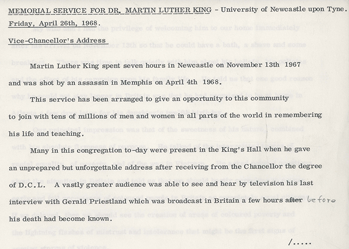 Charles Bosanquet, Page 1 from his Address at the Memorial Service for Dr. Martin Luther King