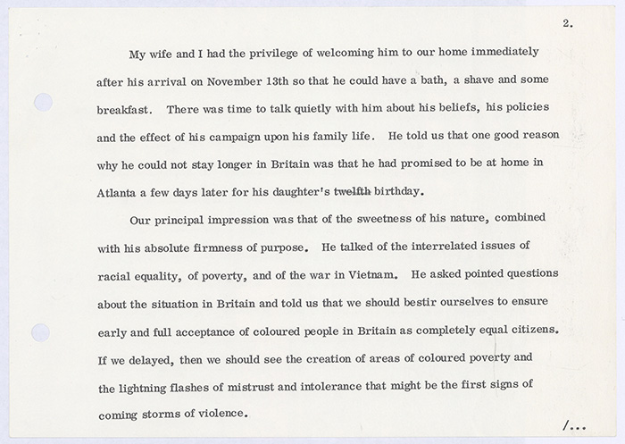 Charles Bosanquet, Page 2 from his Address at the Memorial Service for Dr. Martin Luther King