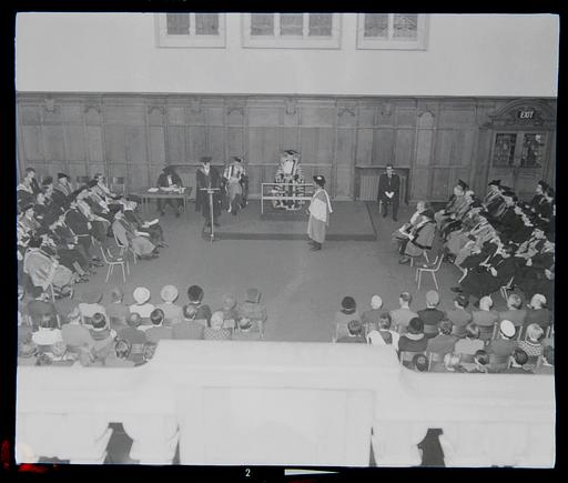 Photograph of Dr. Martin Luther King Jr. receiving his Honorary Degree in King's Hall