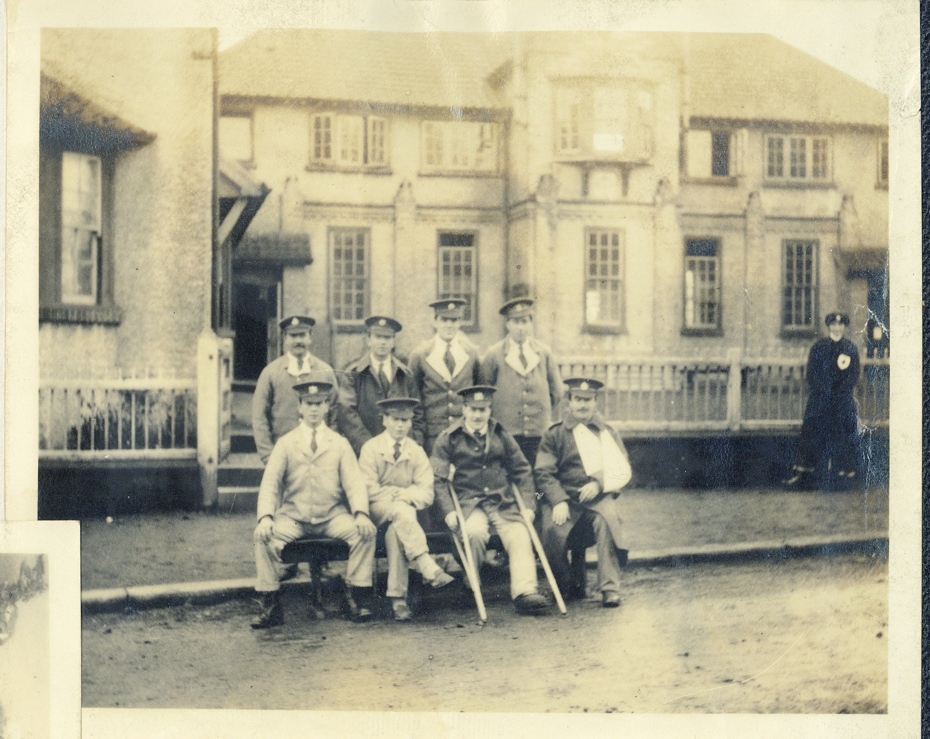 Photograph of wounded soldiers outside the auxiliary Hospital at Rounton Grange, New Years Eve, 1916 (Charles Philips Trevelyan Archive, CPT/PA/6)