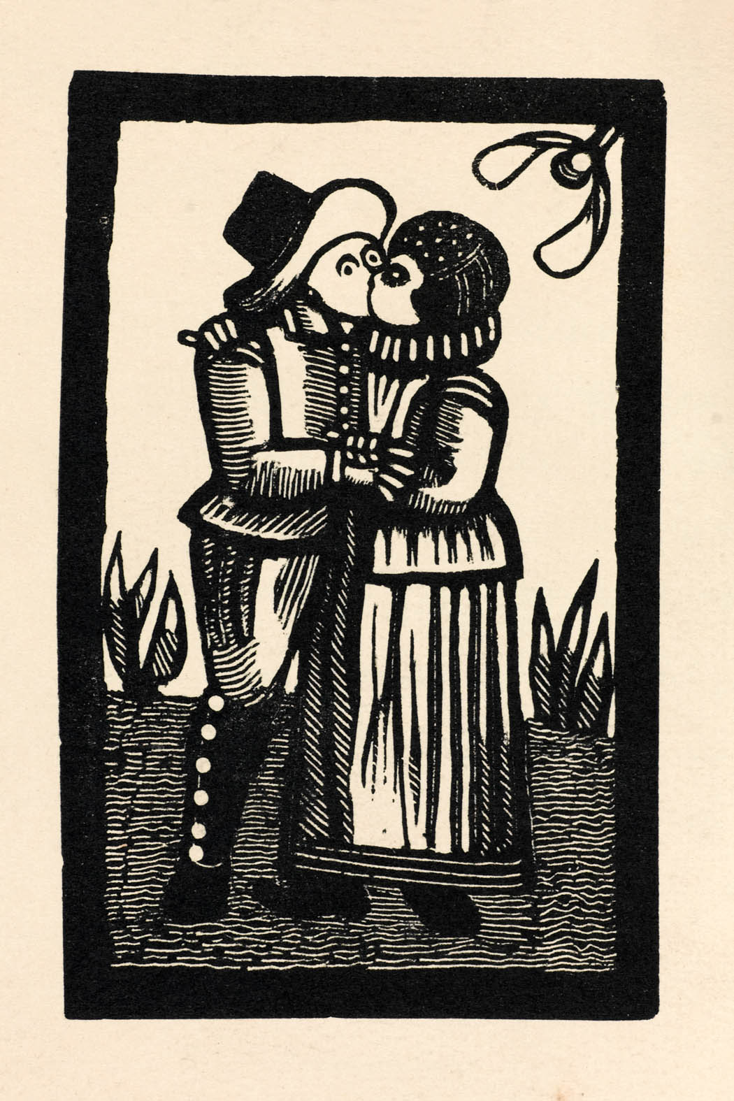 Print of Couple Kissing from 'Impresses Quaint', 1889