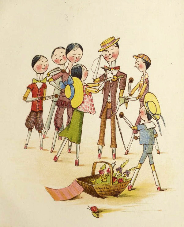 Page from 'Me and Catharine Susan earns an honest penny' showing one of the peg dolls create buttonholes to sell