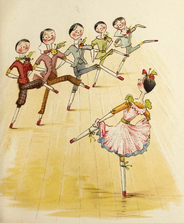 Page from 'Me and Catharine Susan earns an honest penny' showing one of the peg dolls showing the 'Buttonholers' to dance