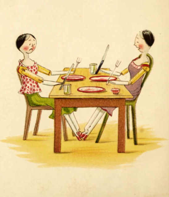 Page from 'Me and Catharine Susan earns an honest penny' showing two peg dolls at the table with empty plates