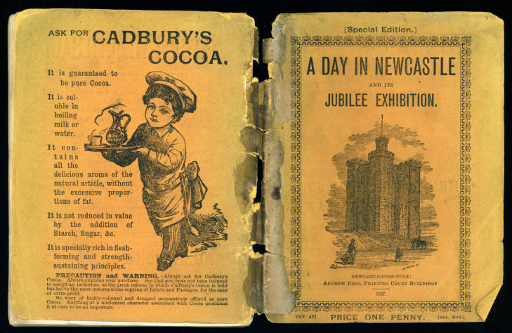 Back and front covers of 'A Day in Newcastle and its Jubilee Exhibition'