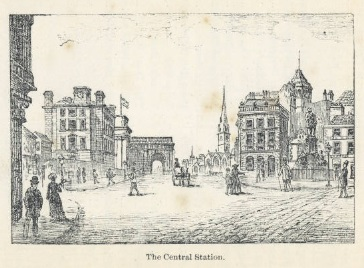 Illustration of Central Station taken from 'A Day in Newcastle and its Jubilee Exhibition'