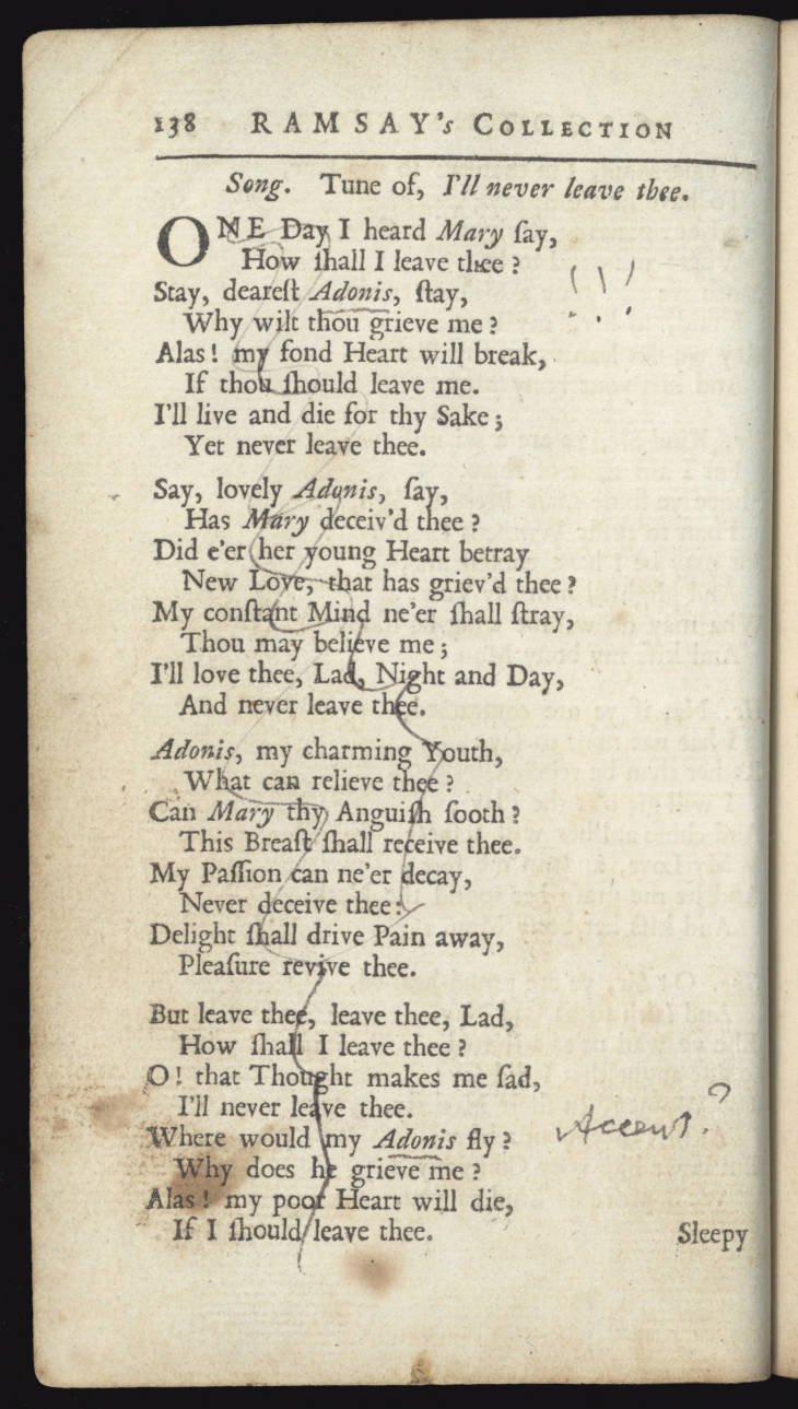 Page from 'The tea-table miscellany or, Allan Ramsay's collection of Scots sangs'