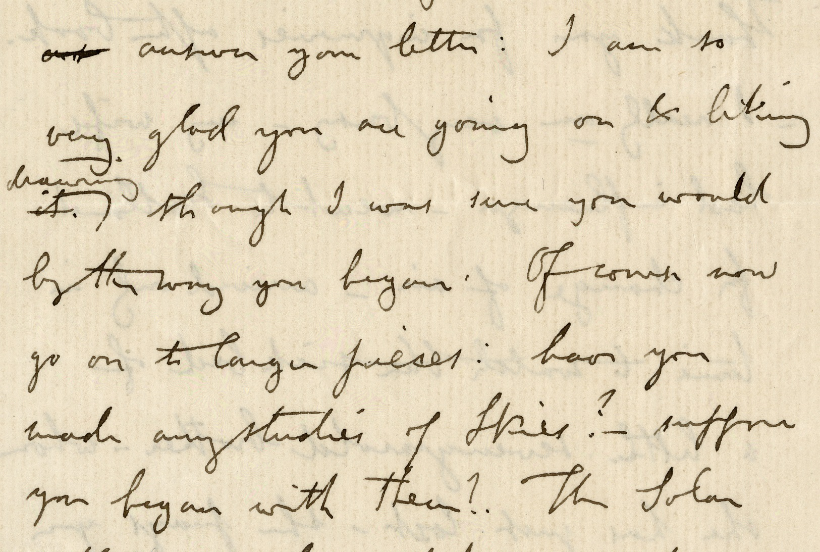Extract from a letter from John Ruskin to Lady Pauline, advising her on her own artistic practice