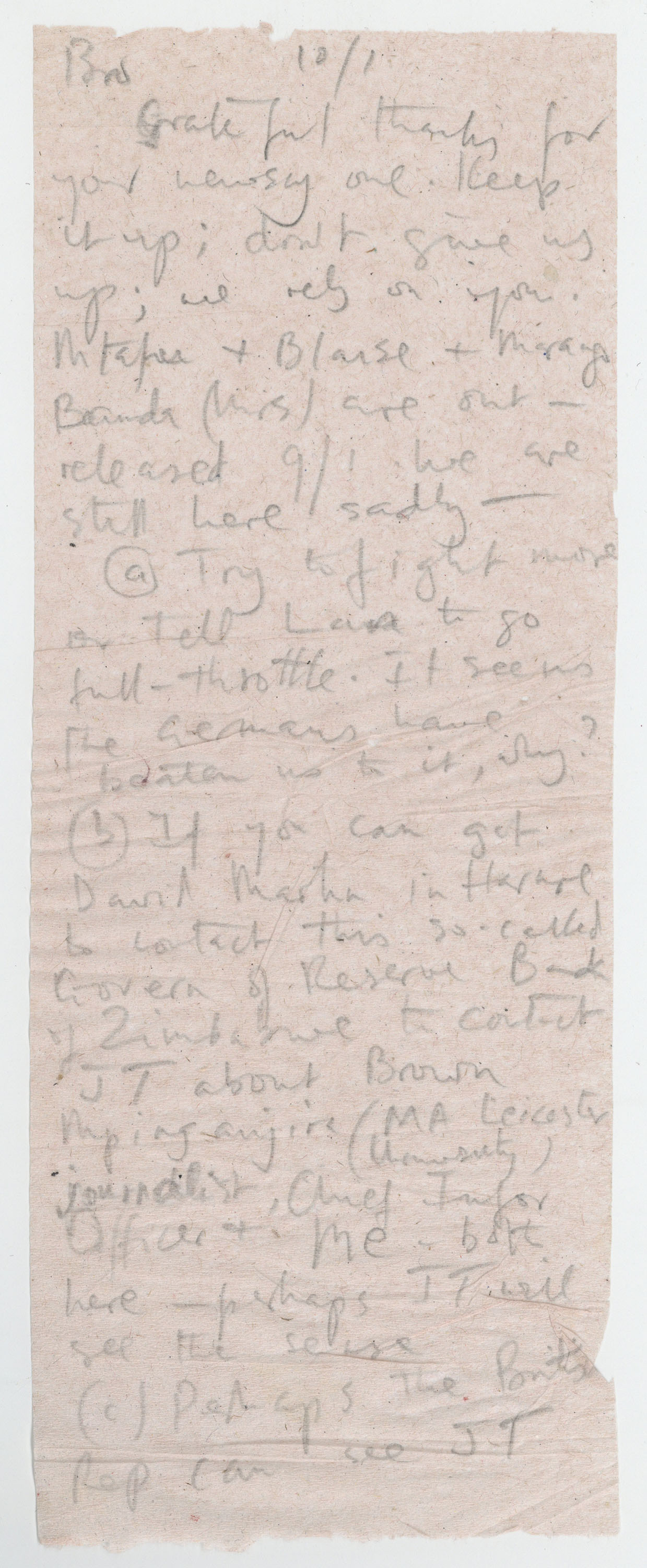 Extract from a letter written on toilet tissue paper by Jack Mapanje to David Kerr whilst a prisoner in Mikuyu Prison in Malawi