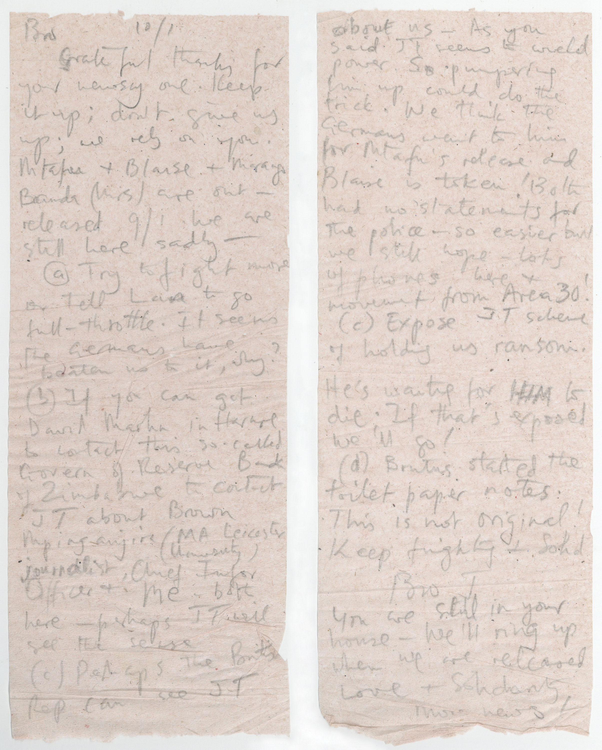 Letter written on toilet paper tissue by Jack Mapanje to David Kerr whilst a prisoner in Mikuyu Prison in Malawi