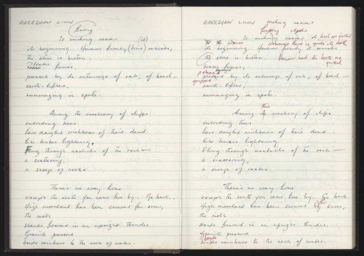 Notebook containing Drafts of Poems, 1985 Bennet (Peter) Archive, PB/1/5-3