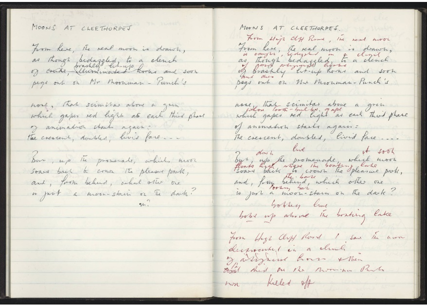 Two pages from Peter Bennet's notebook showing two different drafts of the poem 'Moons at Cleethorpes'.