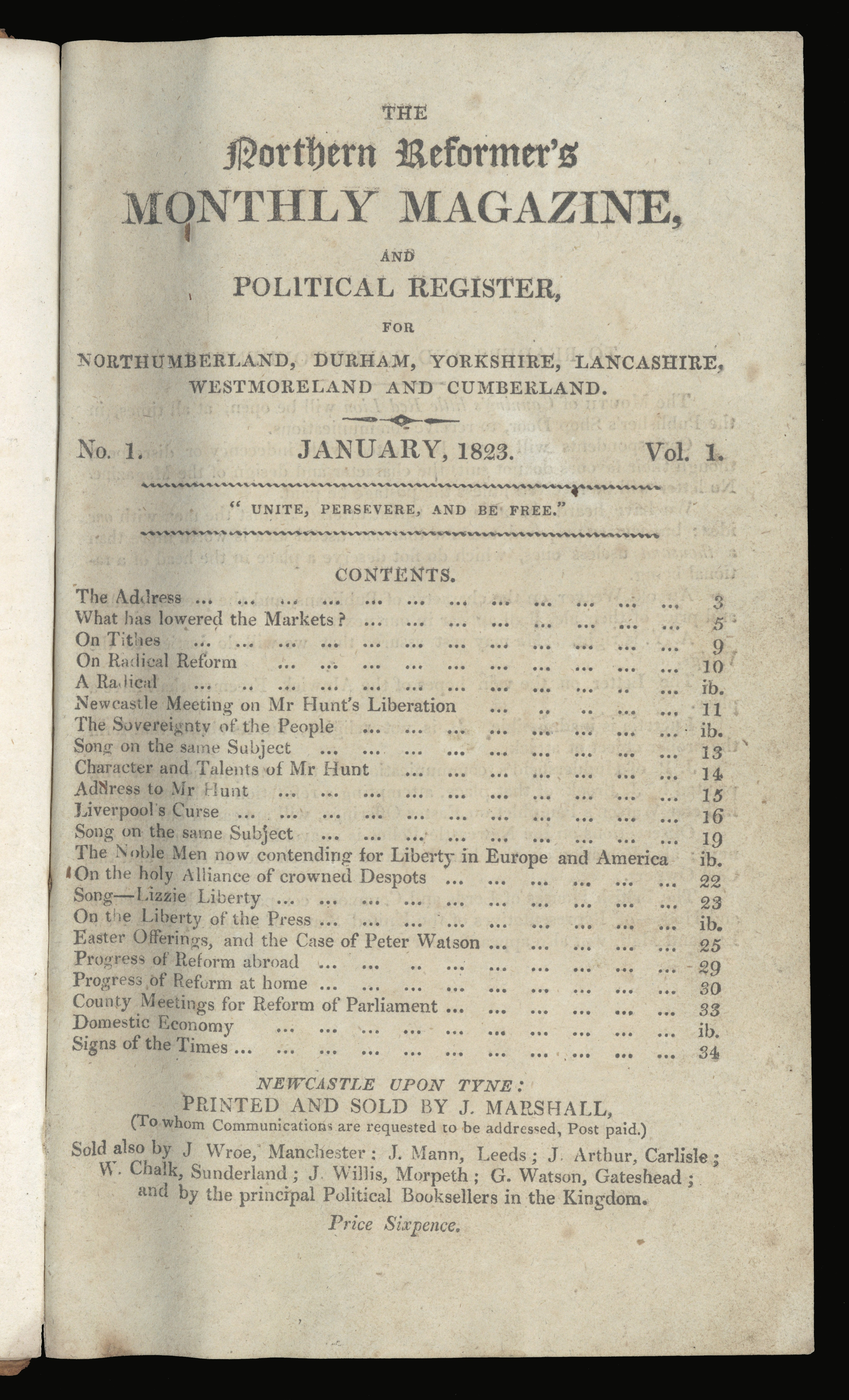 The Northern Reformer's Monthly Magazine, and Political Register, for Northumberland, Durham, Yorkshire, Lancashire, Westmoreland and Cumberland (Newcastle upon Tyne: J. Marshall, 1823) Rare Books 941.074 NOR