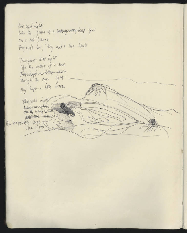 Page from a notebook containing poems, notes, drawings and personal reflections. Hill (Selima) Archive, SH/4/10