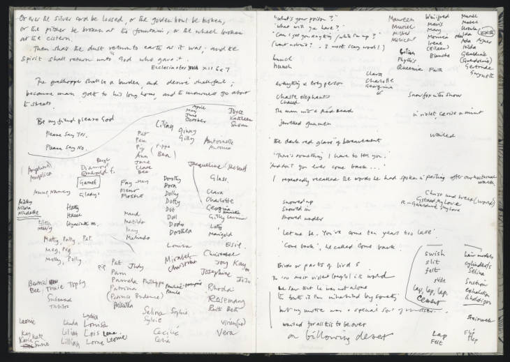 Pages from notebook containing notes relating to draft poems. Hill (Selima) Archive, SH/4/91