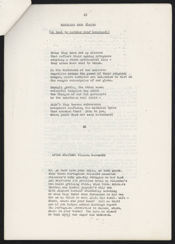 Page from a typescript draft of 'The Chattering Wagtails of Mikuyu Prison', which includes drafts of two poems included in the collection. Mapanje (Jack) Archive, MAP/2/8/3