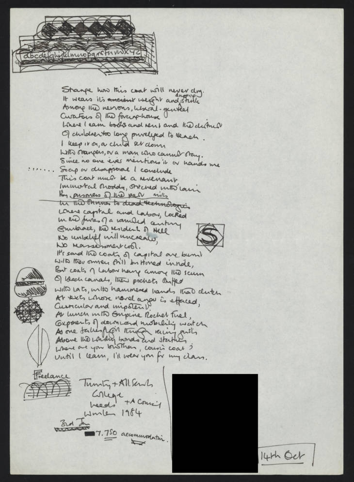 Page from a draft of Cousin Coat, a poem by Sean O'Brien - a hand written manuscript draft of a poem for inclusion in Sean O'Brien's poetry collection 'The Frighteners'. O'Brien (Sean) Archive, OBR/1/1/2/4