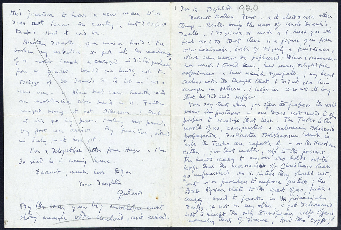 Pages from a letter from Gertrude Bell to her step mother, Florence Bell, written on the 12th January 1920
