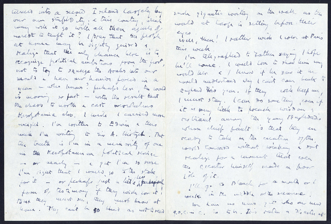 Pages from a letter from Gertrude Bell to her step mother, Florence Bell, written on the 12th of January 1920